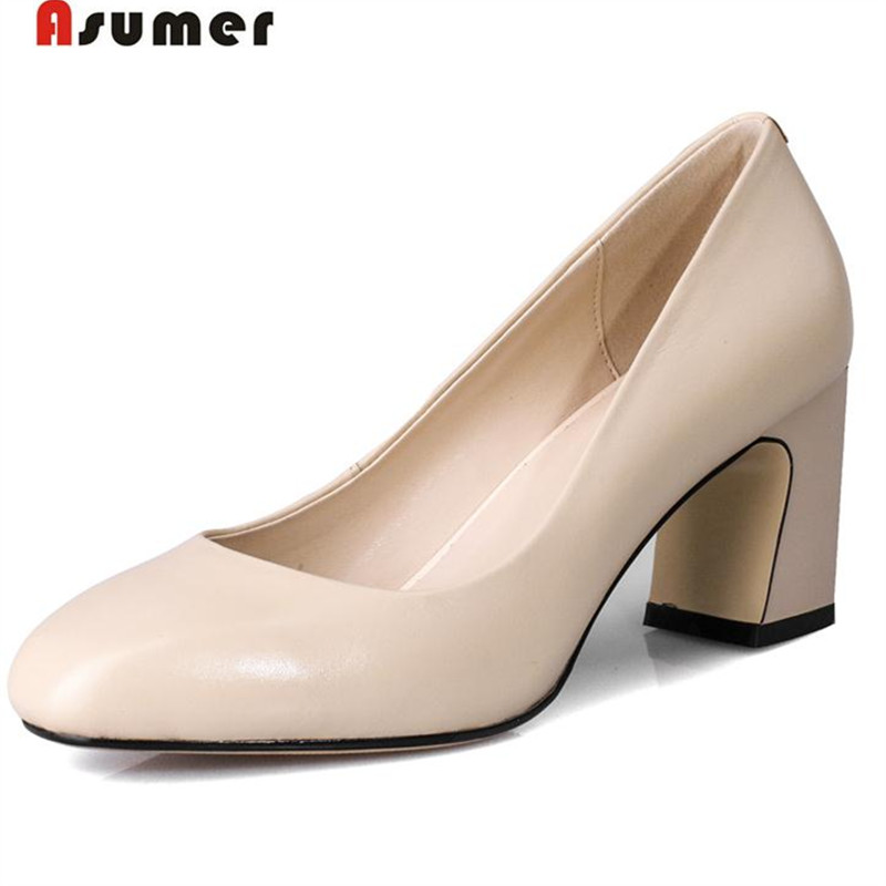 Asumer 2018 Top quality women shoes contracted fashion party shoes genuine leather solid pumps high heels shoes big size 33-43 asumer 2018 women patent leather pumps single shoes party shallow square high heels shoes big size 33 43 fashion elegant solid