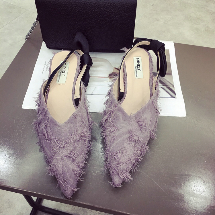 Women Cotton Fabric Kitten Heel Sandals Bowtie Back Pointed Toe Retro Loafers Dress Party Wedding Shoes цена 2017