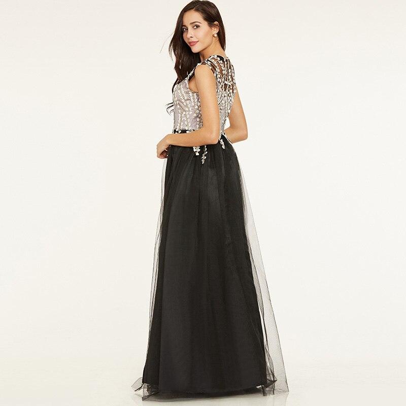Tanpell longue robe de soirée ligne noire à manches courtes - Habillez-vous pour des occasions spéciales - Photo 3