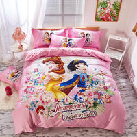 Pink Disney Princess Bedding Set Twin Size Bedspread Queen Comforter Duver Covers Girls Bedroom Decor 100% Cotton 3 5 pcs Kids