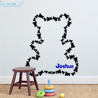 Fifty Three Teddy Bears Wall Sticker Personalized Baby Name Free Combination Of Shape Baby Bedroom