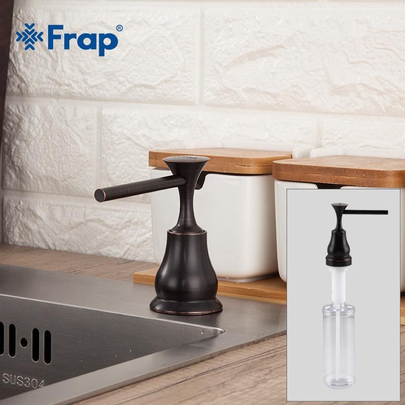 FRAP Liquid Soap Dispenser Black Brass Deck Mounted Kitchen Soap Dispensers Round Counter Top Dispenser Y35029-1