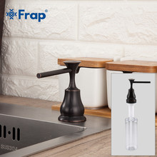 Frap Dispenser Sabun Cair Hitam Kuningan Deck Mounted Kitchen Dispenser Sabun Bulat Dispenser Counter Top Y35029-1(China)