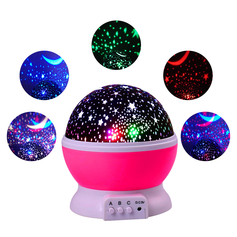 все цены на Rotating Projector Starry Night Lamp Sky Star Children Kids Baby Sleep Romantic LED USB Projection Lights Xmas Holiday Decor
