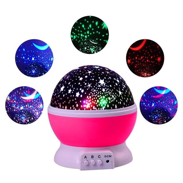 Rotating Projector Stars Starry Sky LED Night Light Projector Moon Novelty Table Night Lamp Battery USB Night Light For Children