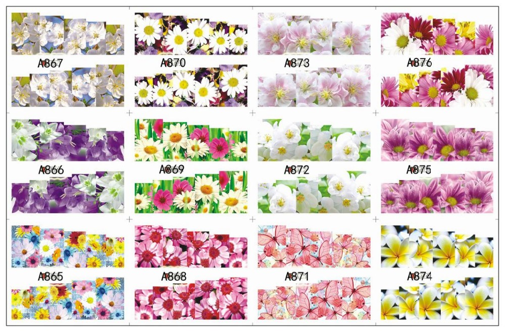 12 PACK/ LOT WATER DECAL NAIL ART NAIL STICKER SLIDER TATTOO FULL COVER BUTTERFLY ORCHID EVENING PRIMROSE A865-876
