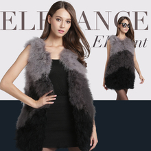 new Women autumn Long Real Genuine natural fur ostrich feather jacket Vest Waistcoat shearling Female Sleeveless fashion Out005