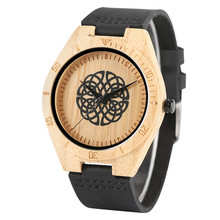 Nature Bamboo Wrist Watch Men Analog Bangle Cool Creative Watches 2018 New Arrival Luxury Genuine Leather Band Simple Clock Gift
