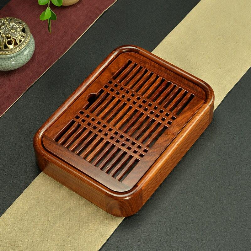 Wood Tray Kung Fu Tea Portable Wooden Trumpet Rosewood Ebony Water Tea Table Water Storage Tray