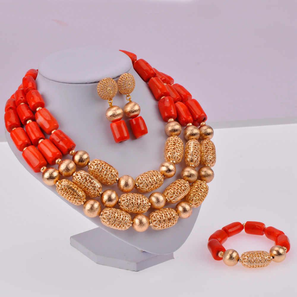 Neue Fashion Nigerian Hochzeit Perlen Afrikanischen Korallen Perlen Halskette Schmuck-Set für Frauen Braut Schmuck Sets CBS36