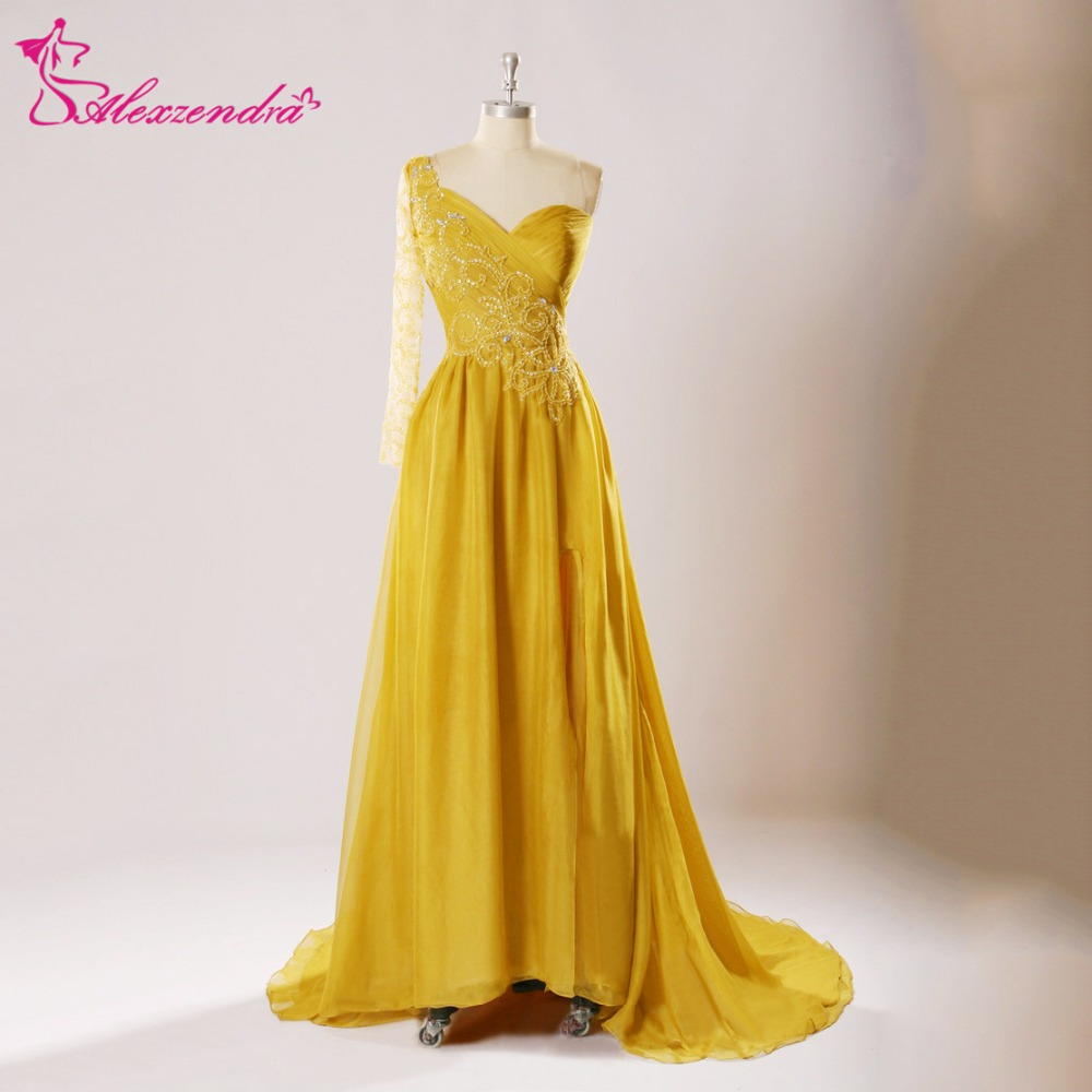 Alexzendra Yellow One Shoulder Beads Long A Line   Prom     Dresses   Formal Evening Gown Customize Special Party Gowns
