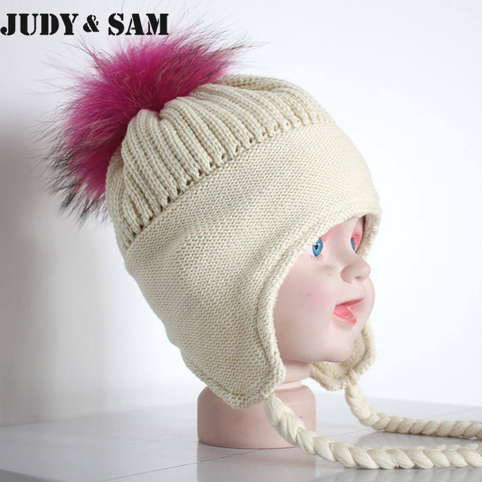83624464352 Baby Lovely Pure Cotton and Winter Braid Hat with Luxury Real Fur Pompom  For Girls 1 3months Boys Baby Cap-in Skullies   Beanies from Apparel  Accessories on ...