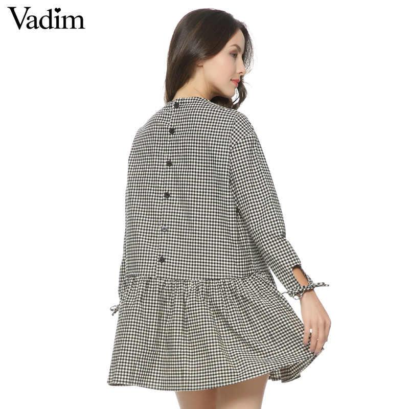 Для женщин негабаритных Плиссированные платье в клетку оборками клетчатый длинный с завязками и рукавом Свободные кнопки назад толстые теплые Повседневные платья; vestidos QZ2726