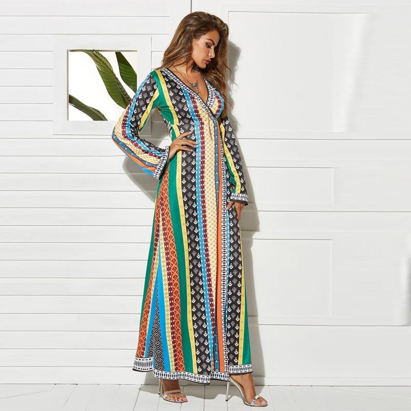 VITIANA Women Casual Long Dress Spring Female 2019 Striped Print Long Sleeve Loose Maxi Dresses Ladies Vintage Elegant Vesdios