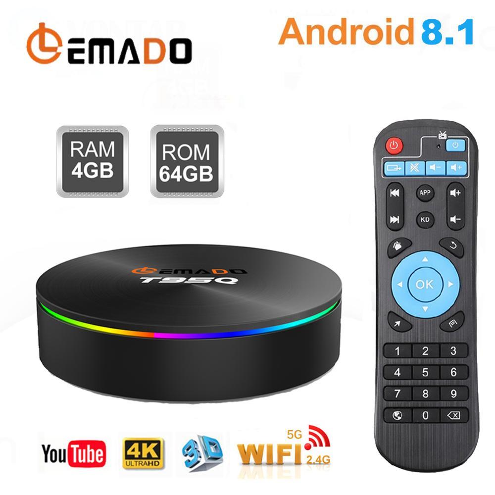 TV BOX Android 8.1 S905X2 4GB 32GB 64GB support 2.4G+5.8G Dual WIFI Bluetooth Lemado T95Q 3D Set Top Box 4K Smart TV Box AndroidTV BOX Android 8.1 S905X2 4GB 32GB 64GB support 2.4G+5.8G Dual WIFI Bluetooth Lemado T95Q 3D Set Top Box 4K Smart TV Box Android