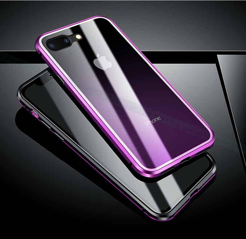 Magnetic clear  tempered glass Metal phone cover case (12)
