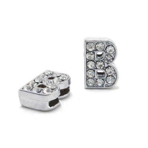 A-Z 8mm מלא Rhinestones תליוני מכתבי שקופיות Fit עבור DIY מתנת קסם עור שם צמיד צמיד חגורת שרשרת תכשיטים