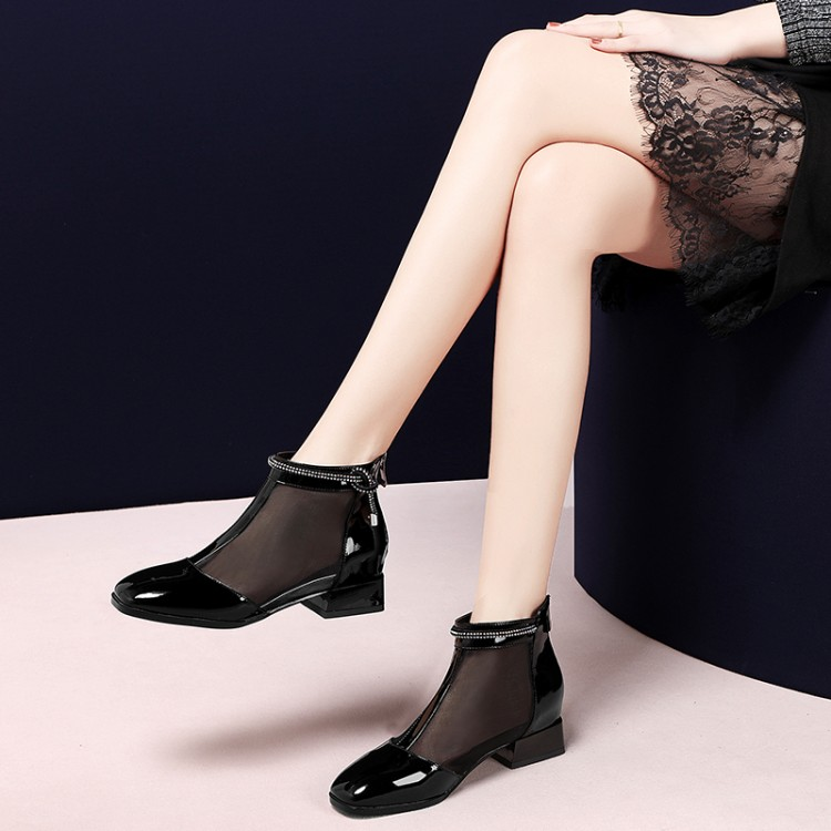 fashion Womens Ankle Boots Mesh shoes Patent Leather low heel Summer Boots Lady Cool boots Breathable Womens footwearfashion Womens Ankle Boots Mesh shoes Patent Leather low heel Summer Boots Lady Cool boots Breathable Womens footwear