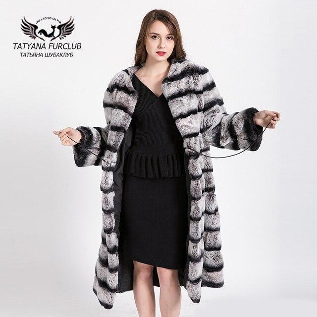 100% Real whole pele Rex coelho casaco Alongado 2017 Loja Casacos de  inverno Russo Jaqueta ce2c78fa2c5
