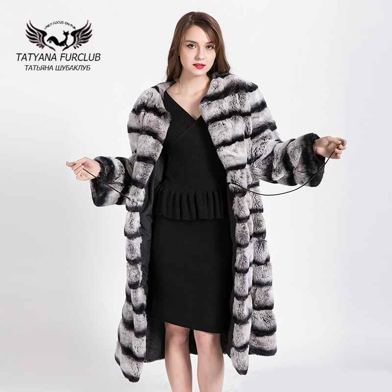 100% Real whole skin Rex rabbit coat Lengthened 2017 Shop ...