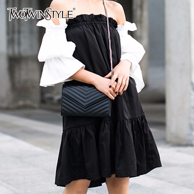 TWOTWINSTYLE Puff Sleeve Dress Female Off Shoulder Strapless Midi Mermaid Dresses 2019 Womens Summer Fashion Sexy