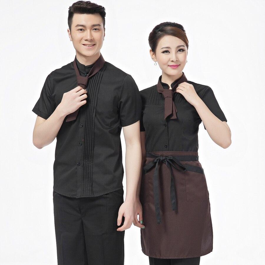 6c42d02b939 Hotel Waiter Waitress Uniform Summer Restaurant Uniforms Grill Tooling Fast  Food Short Sleeved Shirts Working Overalls V142 on Aliexpress.com