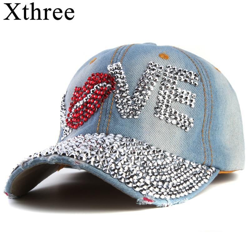 Xthree cheap baseball cap good quality rhinestone cap love letter snapback hats for men and ...