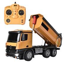 Para huina 1573 2.4ghz rc caminhão basculante brinquedos liga 1:14 10ch controle remoto caminhão basculante engenharia construção cartruck veículo brinquedo