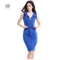 LZJ 2017 New High Quality Women Dress Fashion Deep V Neck Long Zipper Decoration Professional Women