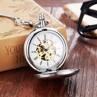 Vintage Charm Hot Sale Copper Mechanical Pocket Watch Hand Winding Full Steel Pocket Watches Fashion Unique Skeleton Transparent