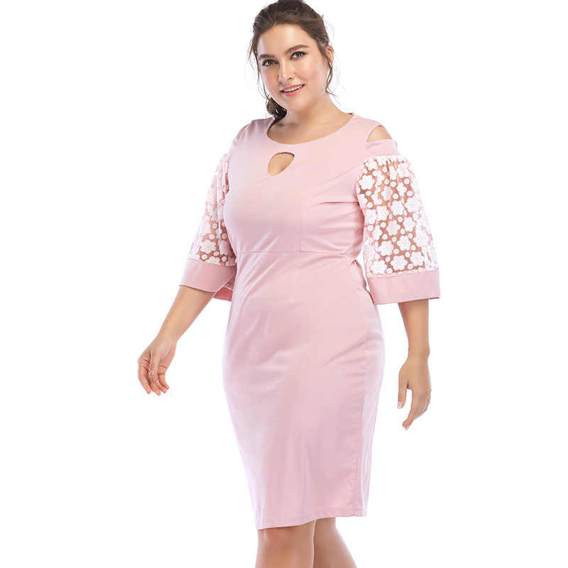 2018 летнее платье с коротким рукавом, повседневное короткое платье размера плюс, женская одежда розового цвета, женское платье большого размера 5XL 6XL Vestidos
