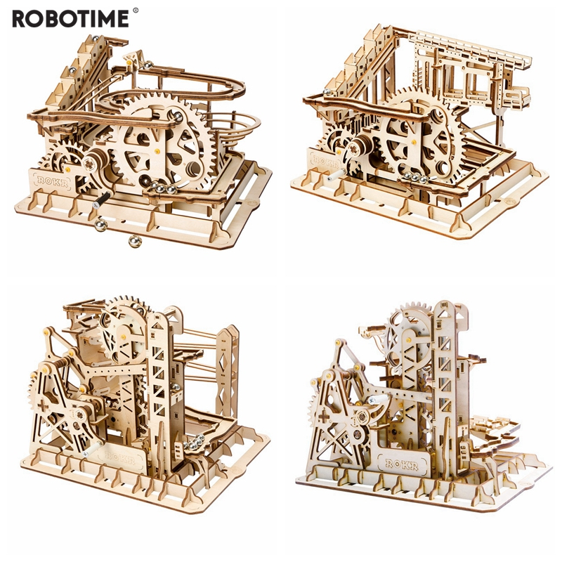 Robotime 4 Pieces DIY Magic Gear Drive Ball Crash Game Wooden Model Building Kits Toys Gift For Children Teens Adult LG
