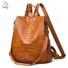 цена на Women Multifunction Backpack Serpentine Leather School Shoulder Bag Large Backpacks Laptop Mochila Bags Teenagers Casual Travel