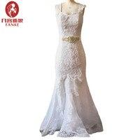 Vestidos De Novia 2017 Vintage Wedding Dresses Mermaid Beaded Sash Appliques Lace China Wedding Gown Bride