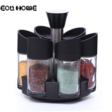 7 Pcs/Set Condiment 360 Rotating Spice Jar Rack Kitchen Cruet Bottle Coffee Sugar Salt Seal Box Combination Set