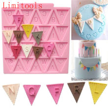 Cooking Tools Flag Shape 26 English Letters Silicone Mold Chocolate Fondant Cake Decorating Cake sugar craft Moulds Tools(China)