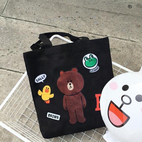 2017 Hot New Fashion Women Female Korean Embroidery Cartoon Bear Soft Single Student Bag Canvas Shopping Bags Shoulder Bags