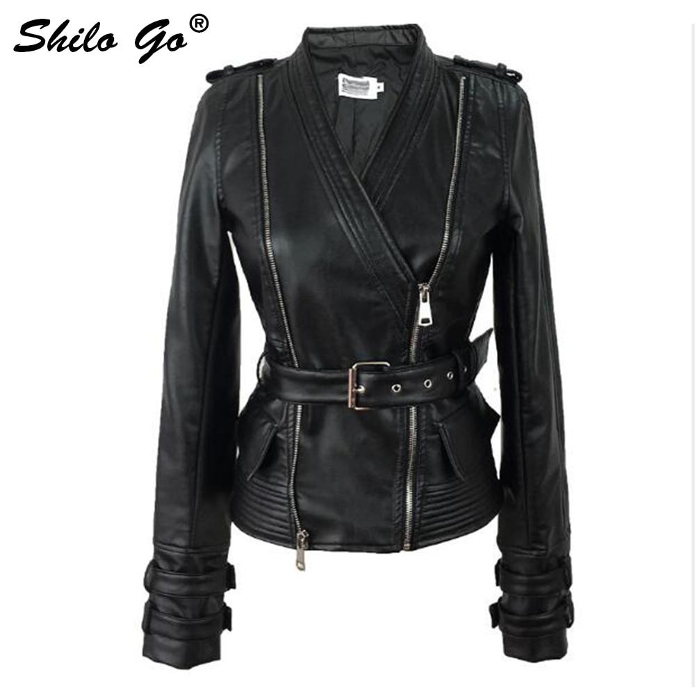 Streetwear   Leather   Jacket Womens Winter Sexy V Neck Faux   leather   coat Rivet Belt Slim Black zipper causal jacket winter outwear