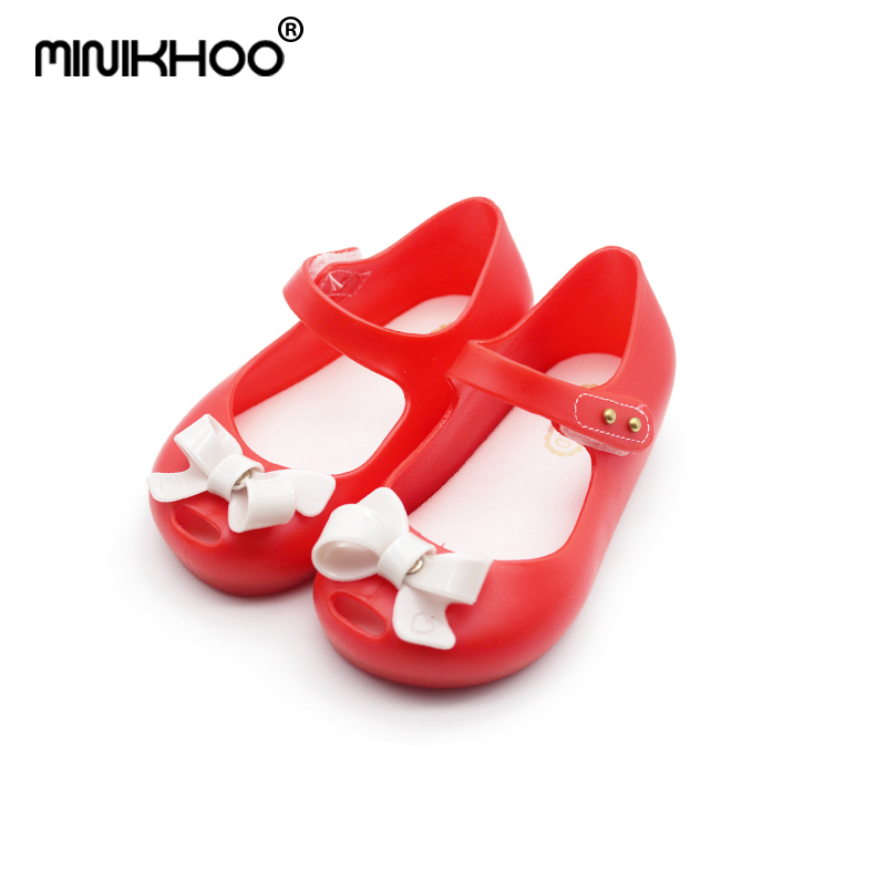 Mini Melissa Brand Jelly Sandals Bow Brazil Jelly Sandals Children Shoes Baby Princess Sandals Girl Shoes Girl Beach Sandals
