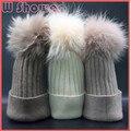 Adult Genuine Dyeing Raccoon Fur Pom Pom Women Wool Hat  Warm Big Mink Fur Pompom Woolen Warm Winter Bobble Knit Hat Pompon Cap