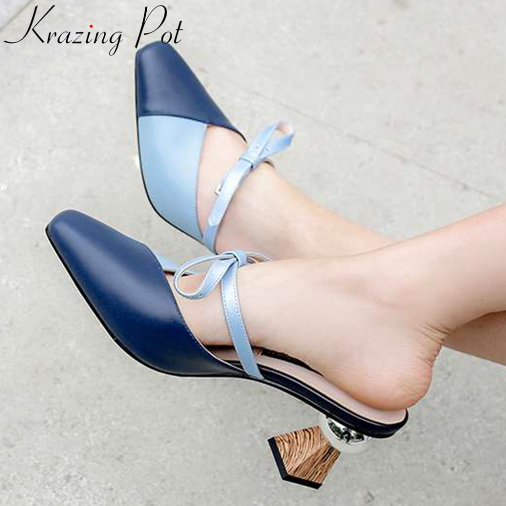 Large size mixed color cow leather butterfly knot decoration classic square strange style high heels slip