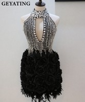 2018 Luxury Rhinestones High Neck Feather Cocktail Dresses Keyhole Backless 3D Flowers Black Short Cocktail Party Dresses