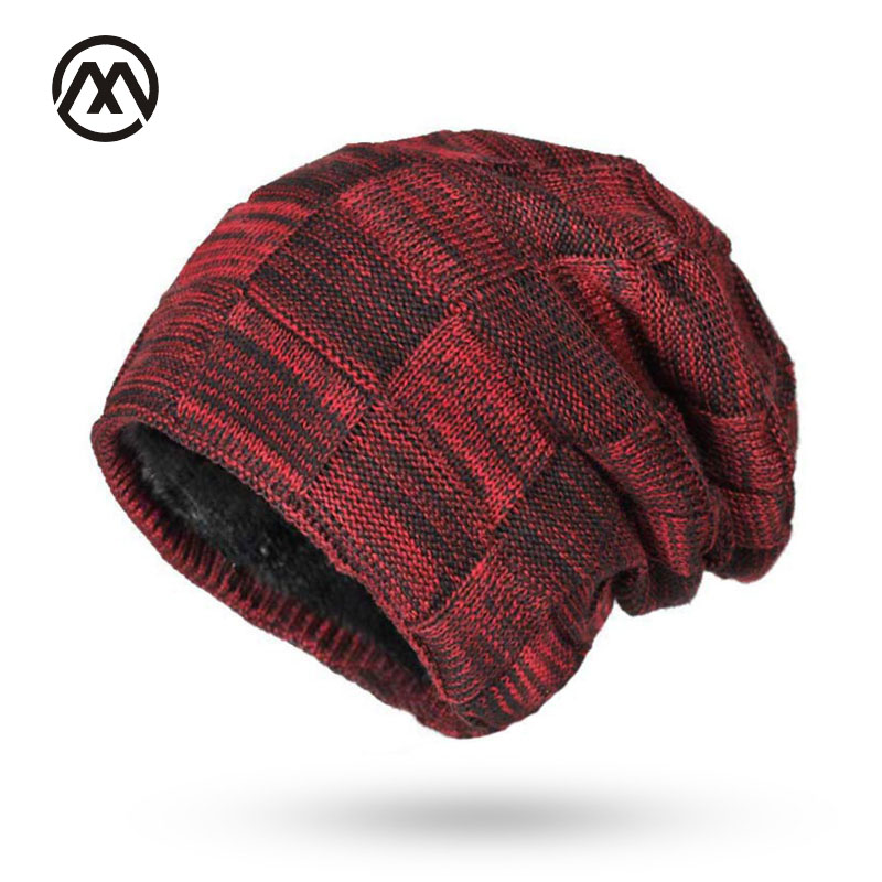 Double layer Winter Beanies Men Winter Hats For Men Women Knitted Hat Bonnet Fashion Caps Skullies Black Mask Warm Hat Plaid wool double layer knitted fabric mask black