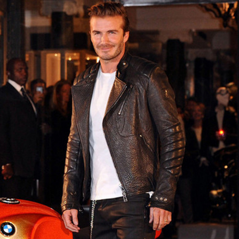 Male genuine leather clothing stand collar zipper motorcycle jacket autumn and winter men's rider jacket