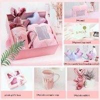 1 комплект на день рождения подарки свадебные услуги и подарок невесты полотенце зимний шарф Керамика чашка Подарочная коробка кролика сва...