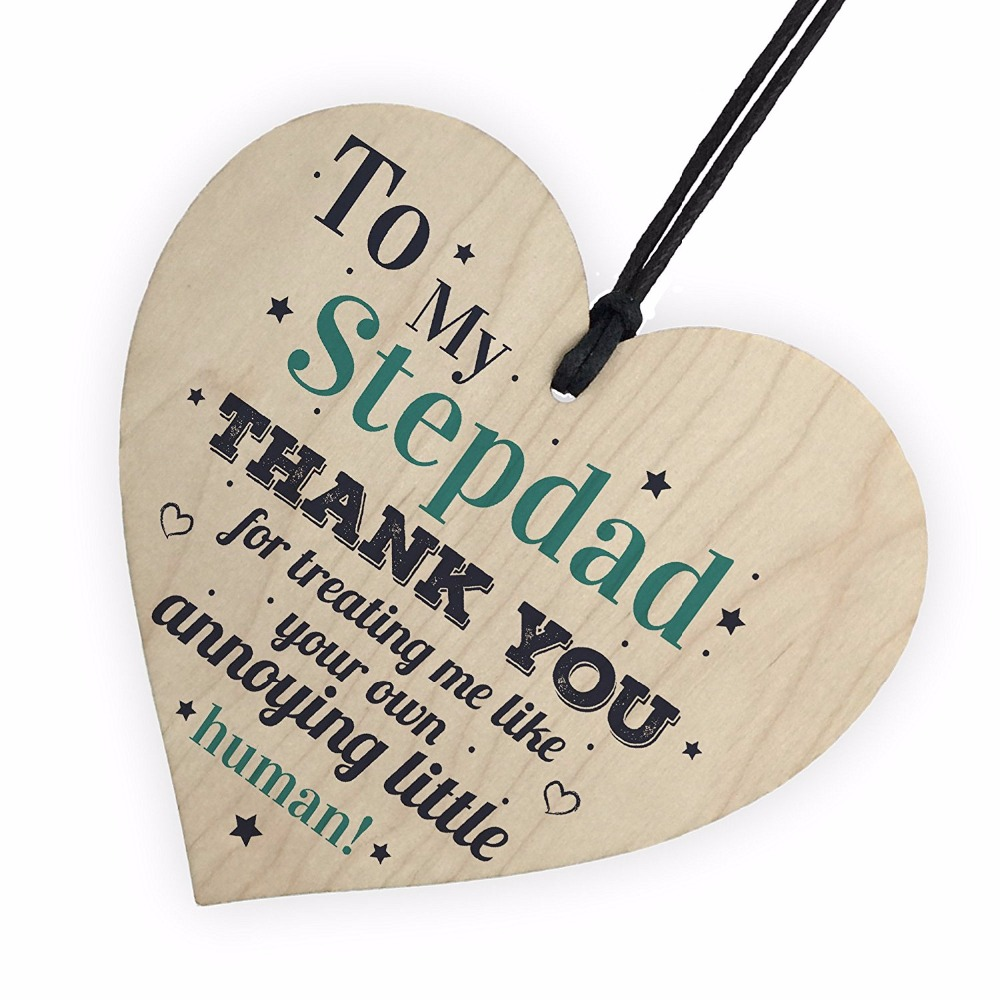 My Stepdad Dad Hanging Wooden Heart Crafts FATHERS DAY Gift For Him Daughter Son Birthday Thank You Small Pendant DIY Tree Decor