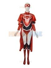 Shiny Metallic Lycra Zentai Red Lantern Crops Female Superhero Cosplay Costume for Halloween