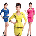 Free Shipping New Design Yellow Skirt Suits Long Sleeves Slim Skirt Suit For Women Blue Work Wear For Office Ladies Plus Size