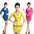 Frete grátis New Design amarelo saia de mangas compridas de Slim saia para as mulheres trabalho azul para escritório Plus Size