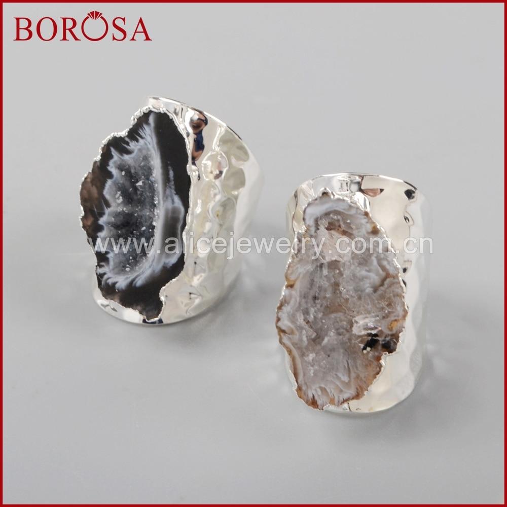 Image 5 - BOROSA Elegant Druzy Silver Color Freeform Natural Crystal Druzy  Open Band Rings, Fashion Natural Gems Women Party Rings S1388band  ringfashion ringsring fashion